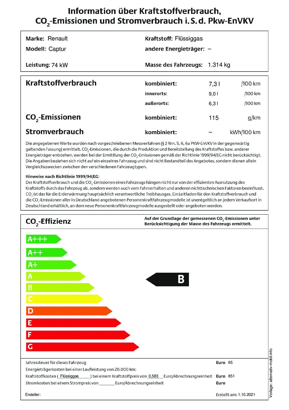 Energielabel TCe 100 LPG
