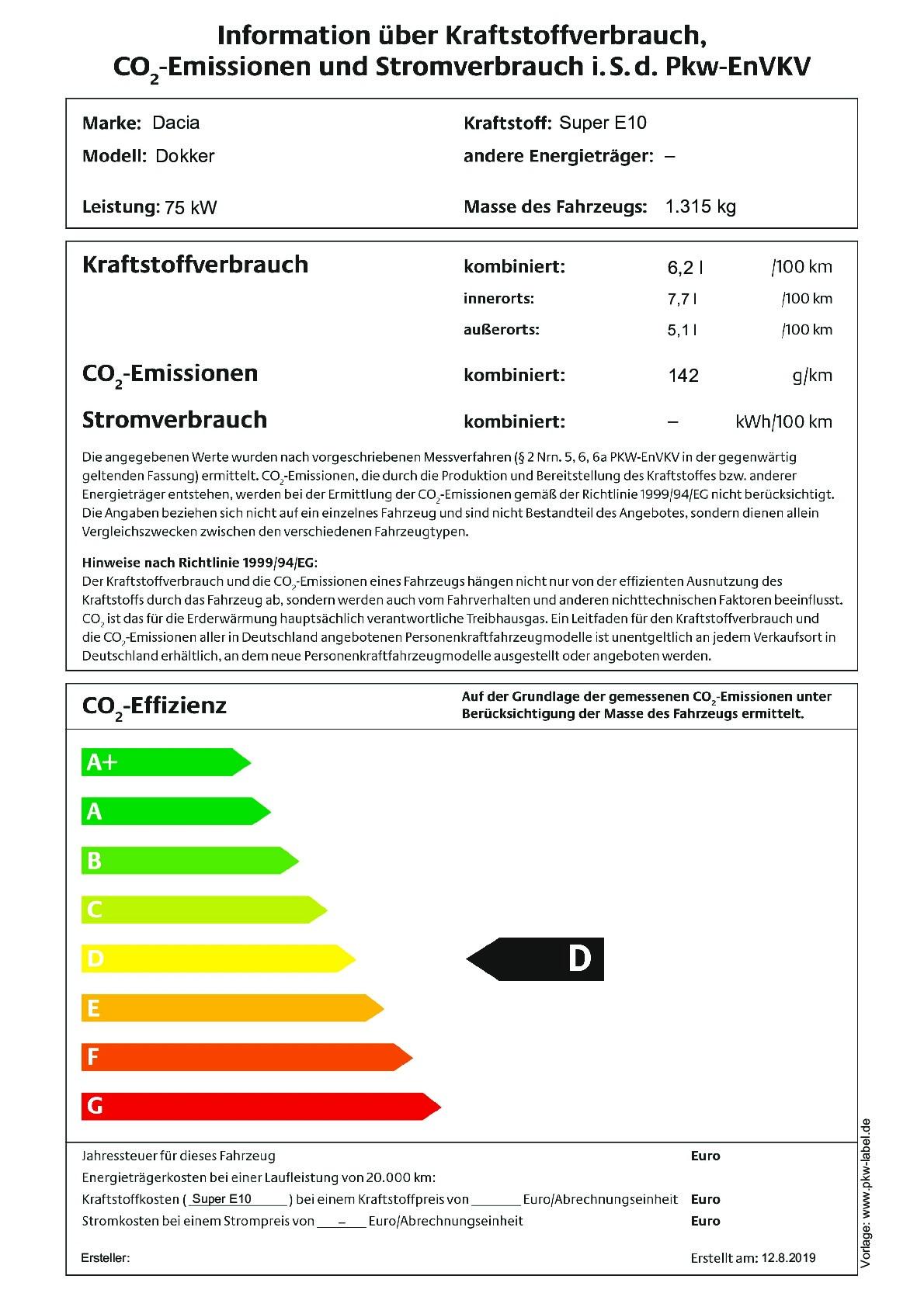 Energielabel Tce 100 GPF (nicht mehr bestellbar)