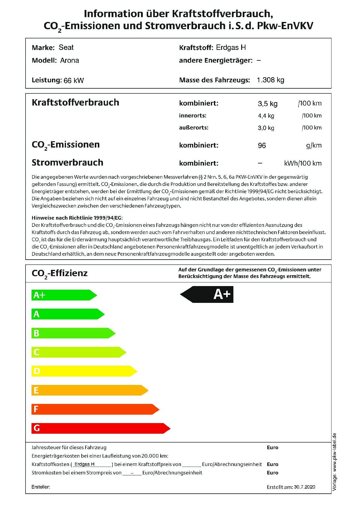 Energielabel 1,0 TGI (CNG)