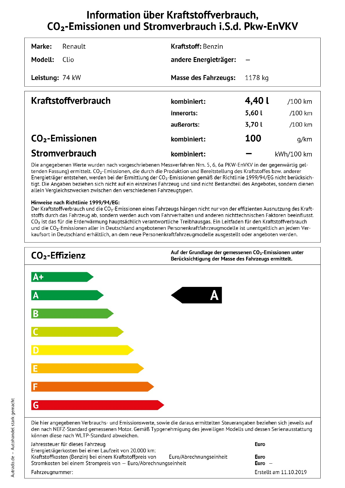 Energielabel TCE 100