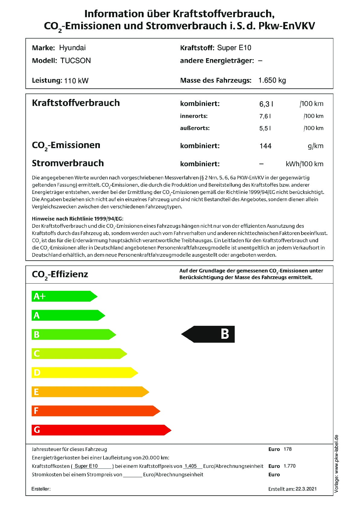 Energielabel 1,6 T-GDI