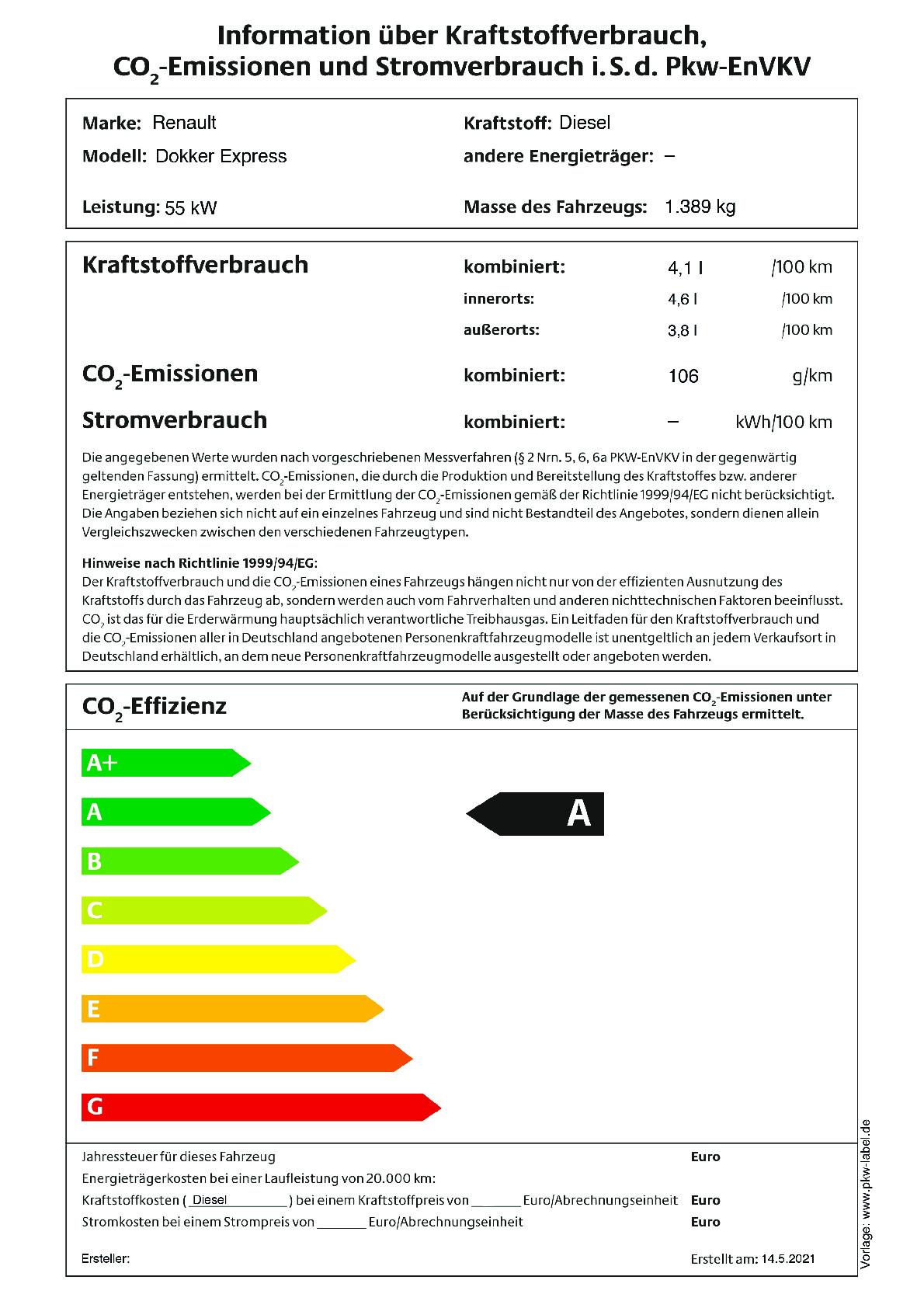 Energielabel 1.5 Blue dCi 75 Eco Leader
