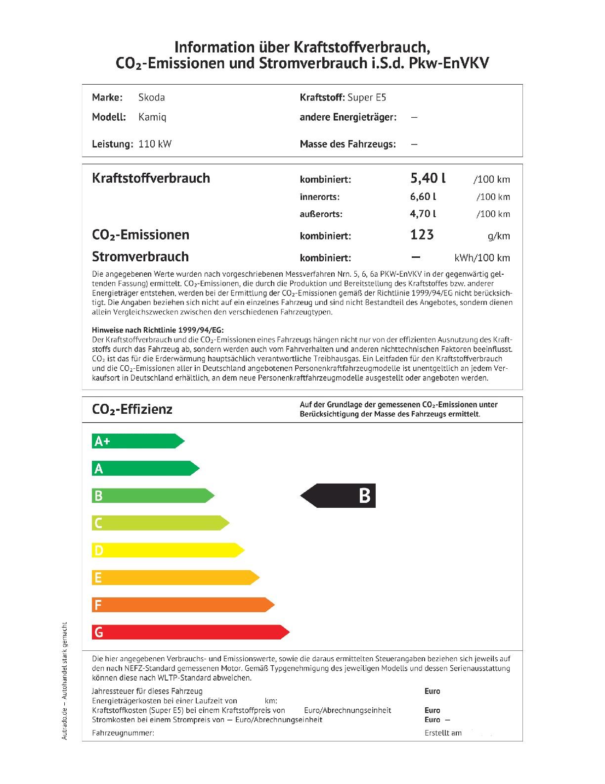 Energielabel 1.5 TSI