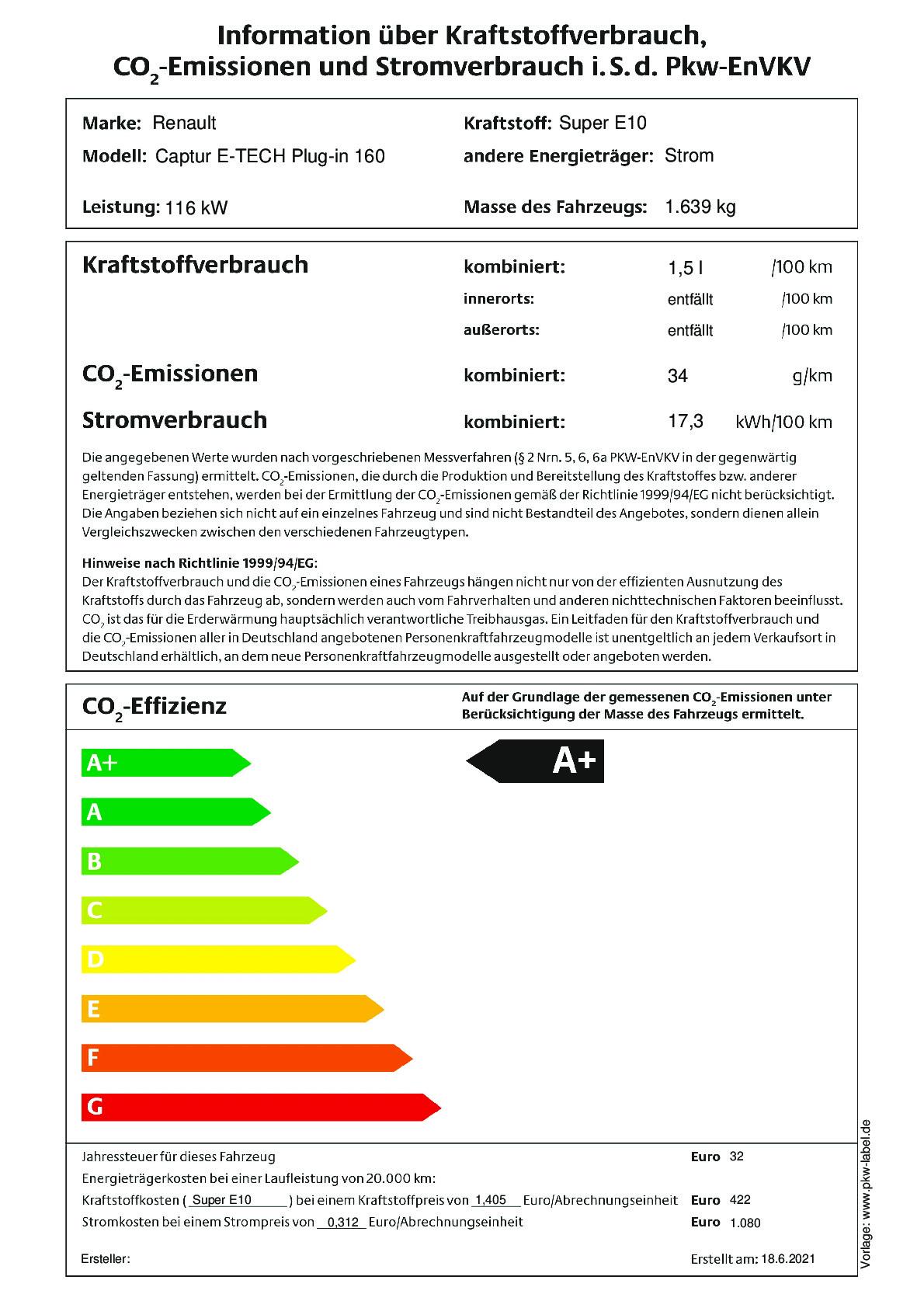 Energielabel E-TECH Plug-in 160