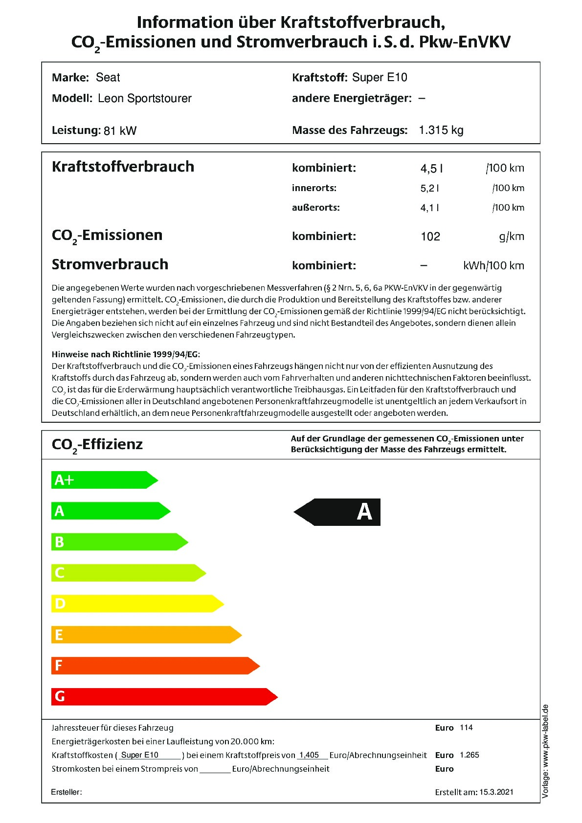 Energielabel 1.0 eTSI DSG